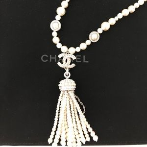 Brand new Chanel silver/pearl necklace